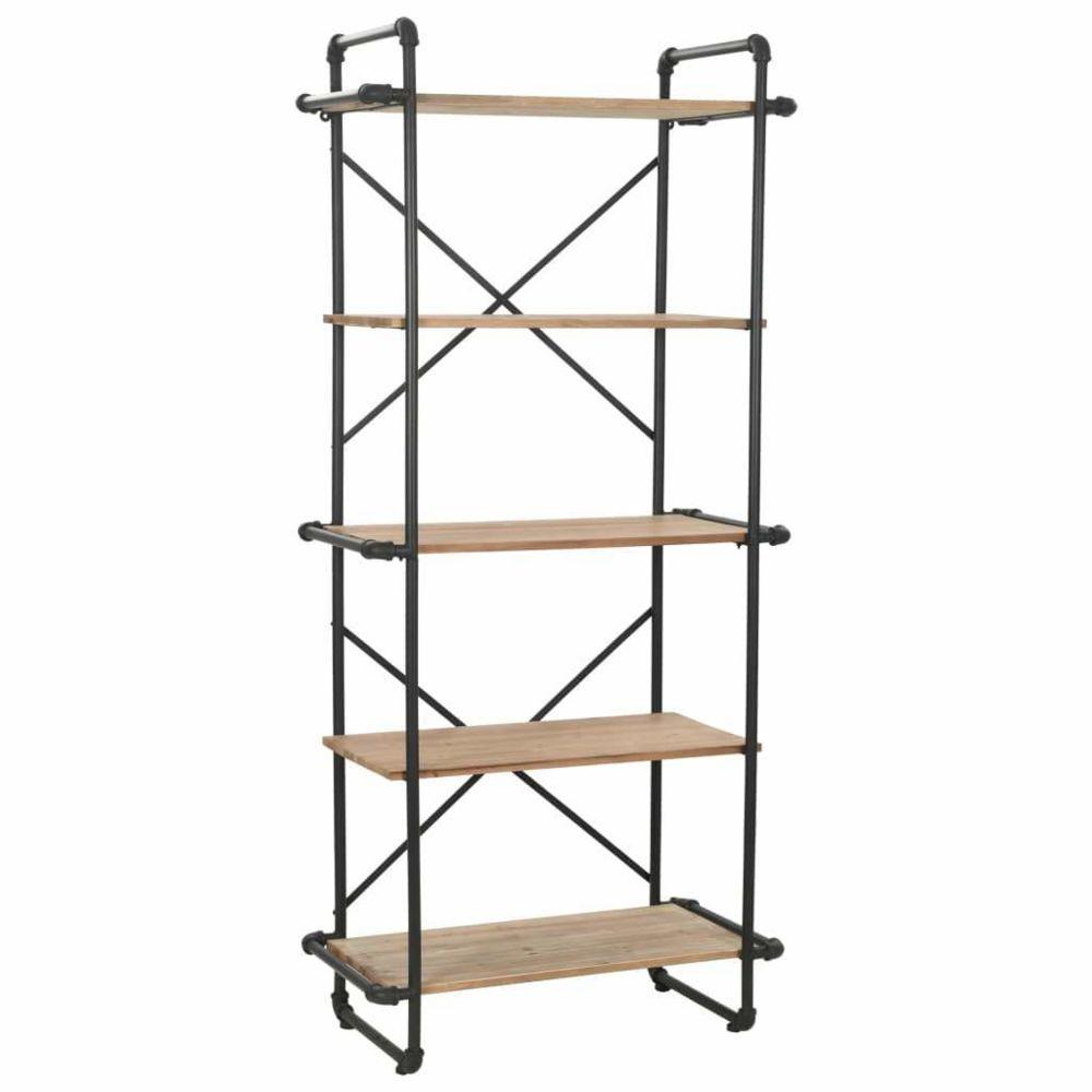 Helloshop26 Étagère armoire meuble design bibliothèque bois de sapin massif et acier 180 cm 2702051/2