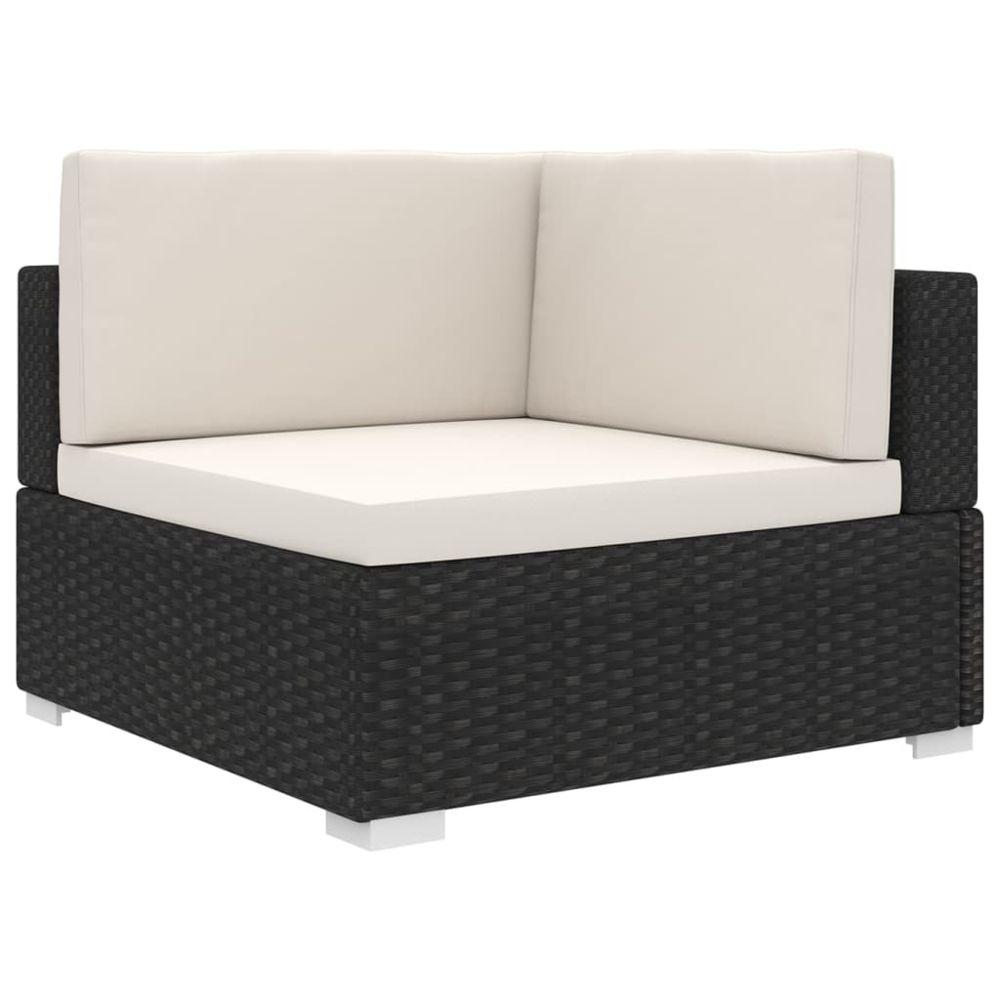 Vidaxl vidaXL Chaise d'angle sectionnelle avec coussins Résine tressée Noir