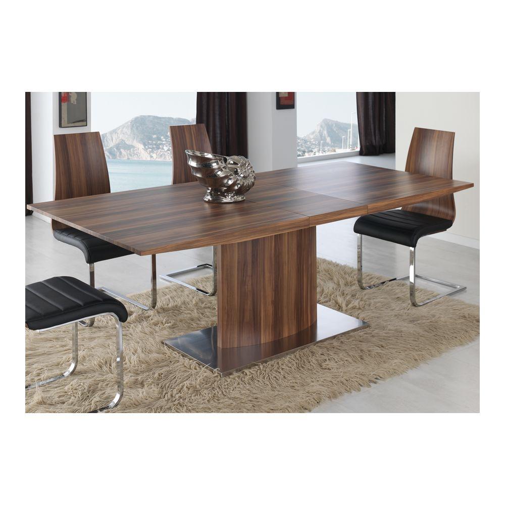 Sofamobili Table à manger extensible en bois massif moderne KING