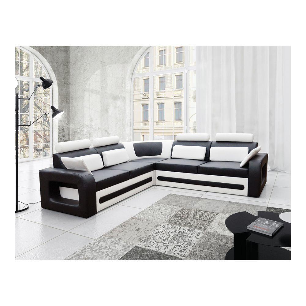 Kasalinea Canapé d'angle convertible noir et blanc avec coffre en PU VITALIS