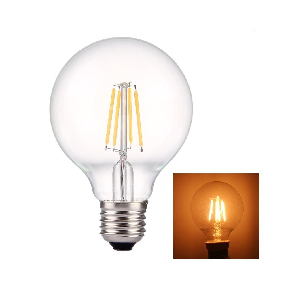 Wewoo Ampoule Transparent et blanc G80 E27 4W 4 LEDs 380 LM 2700K Rétro Économie d'énergie LED Filament ampoule, AC 85-265V ch