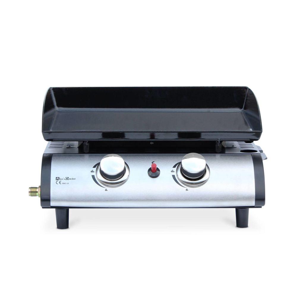 Alice'S Garden Plancha au gaz 2 brûleurs - Porthos - 5 kW, barbecue, cuisine extérieure, plaque émaillée, inox