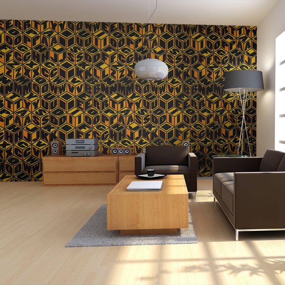 Bimago Papier peint | Cubes couleur miel | 550x270 | XXL |