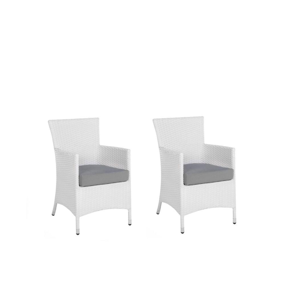 Beliani Beliani Lot de 2 fauteuils de jardin en rotin blanc avec coussins gris ITALY - blanc