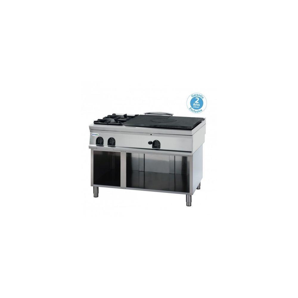 Materiel Chr Pro Plaque de cuisson - top 2 feux vifs gaz et plaque coup de feu à poser - gamme 900 - Tecnoinox -