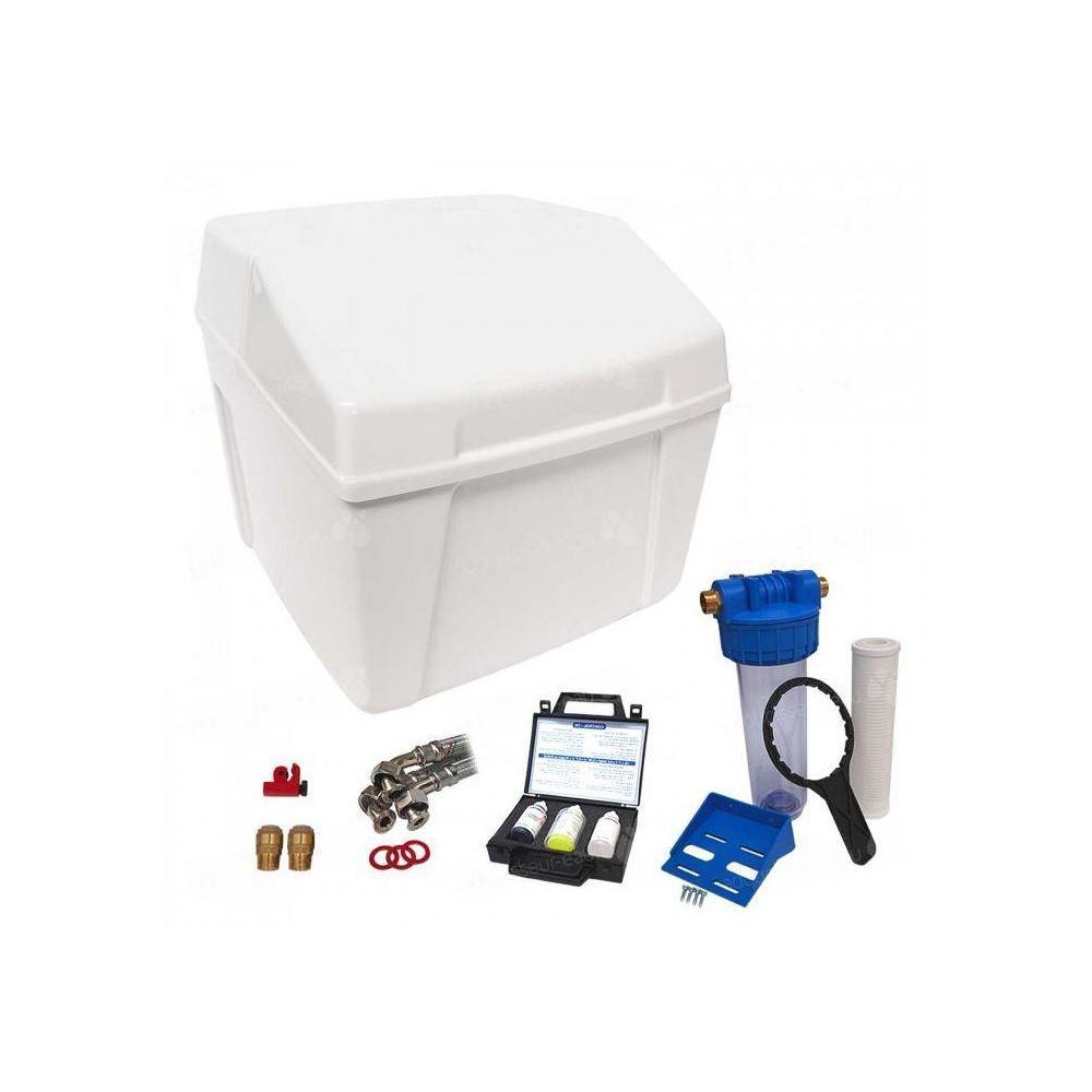 Delta Adoucisseur d'eau sans électricité ultra compact duplex complet avec accessoires