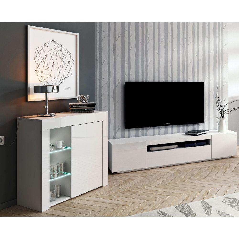 Baltic Meubles Ensemble meubles de salon blanc - 2 meubles - MOINSCHERCUISINE