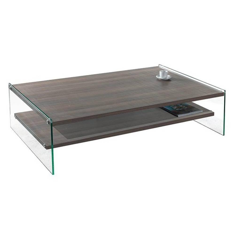 Inside 75 Table basse rectangle BELLA 2 plateaux coloris noyer piétement en verre