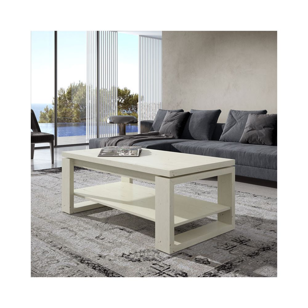 Tousmesmeubles Table basse Bois blanchi relevable - REENA