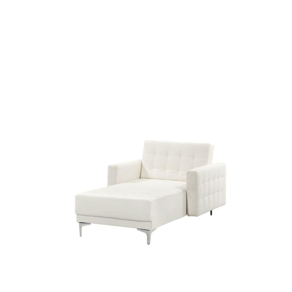 Beliani Beliani Chaise longue en simili-cuir blanc ABERDEEN - blanc