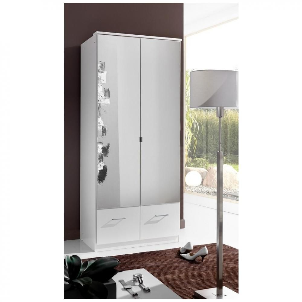 Inside 75 Armoire penderie DINGLE 2 portes miroirs 2 tiroirs largeur 91 blanche