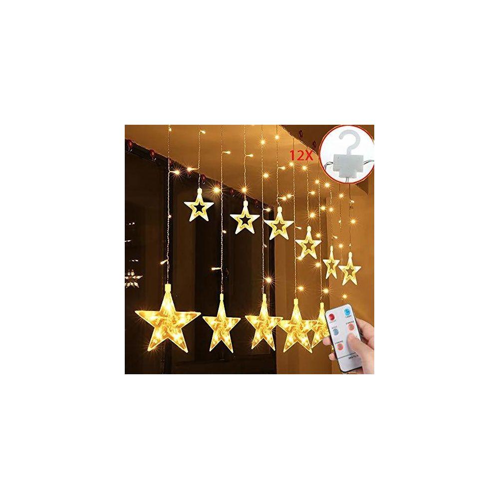 Salcar 108er LED Rideau Lumière 12 Étoiles, 2 * 1m Basse Tension Rideau Lumineux 8 Modes d'Éclairage, Fonction de Minuteur, ave