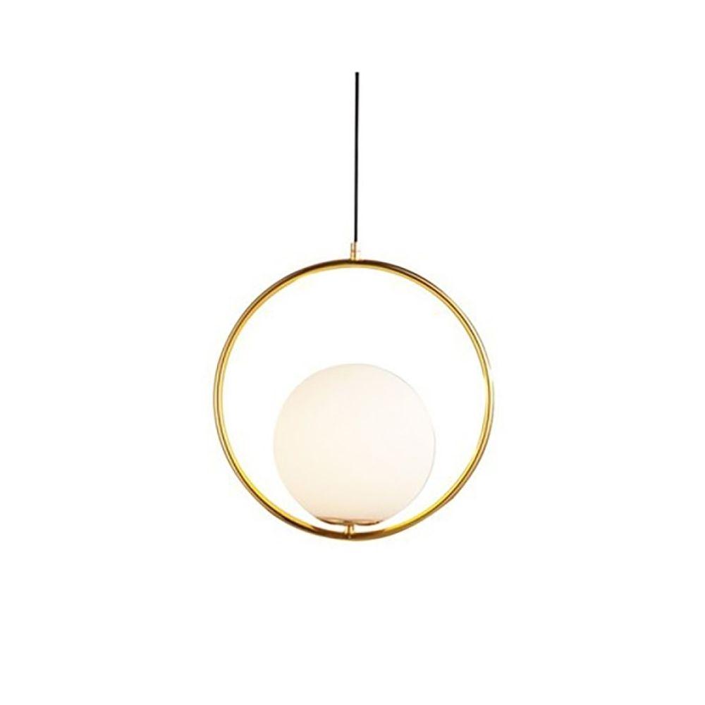 Wewoo Lampe suspendue Luminaire Salon anneau créatif lustre salle à manger chambre boule de verre (blanc chaud)
