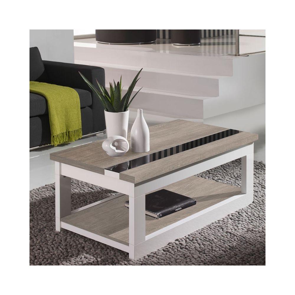 Tousmesmeubles Table basse relevable Chêne clair/Blanc - UPTI