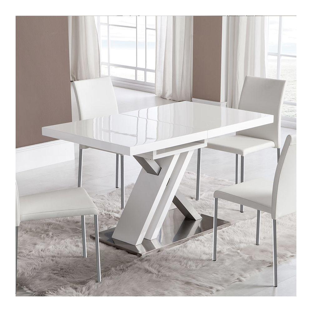 Nouvomeuble Table extensible laquée blanche design MONTANA