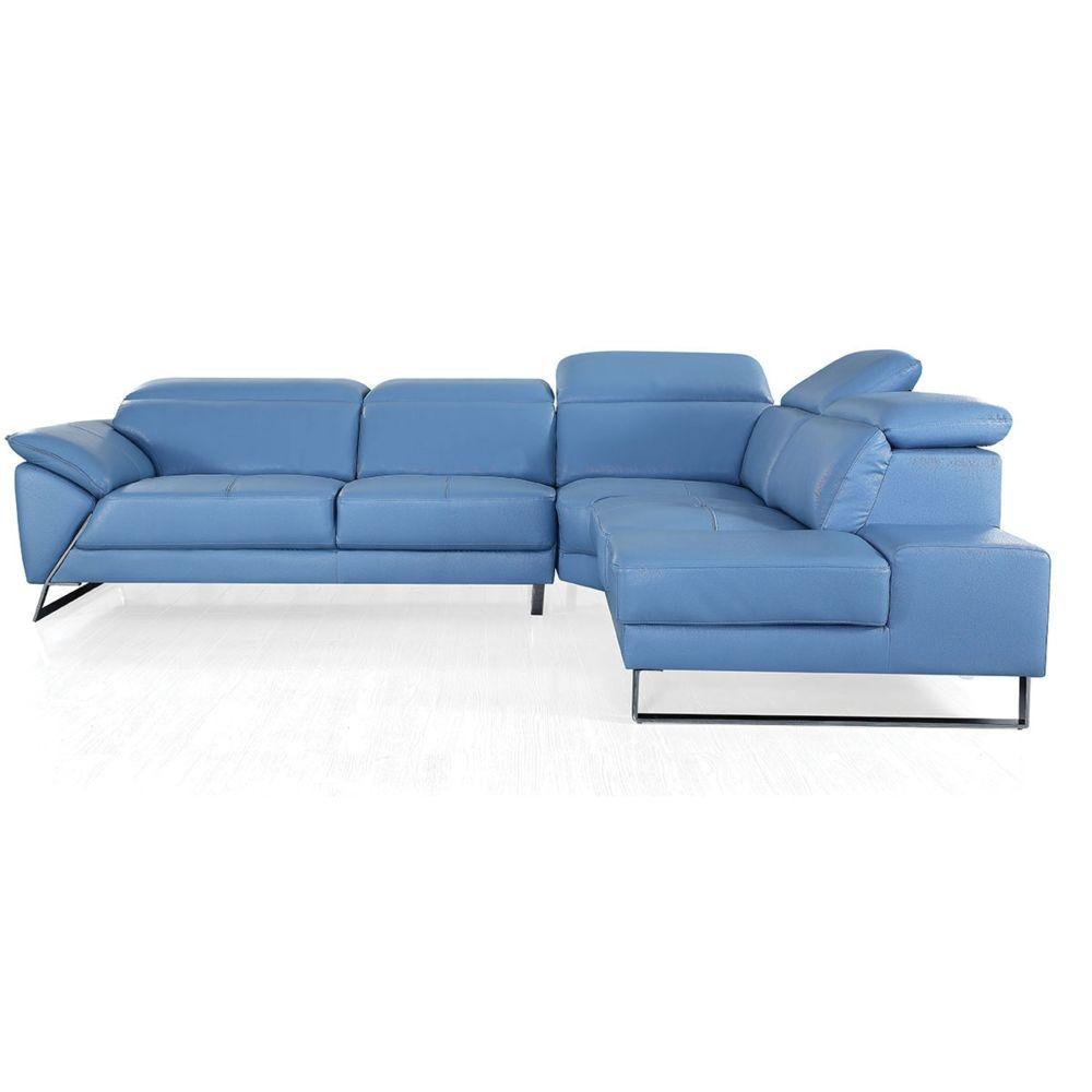 La Maison Du Canapé Canapé d'angle en cuir RAPHAEL - Droit - Bleu