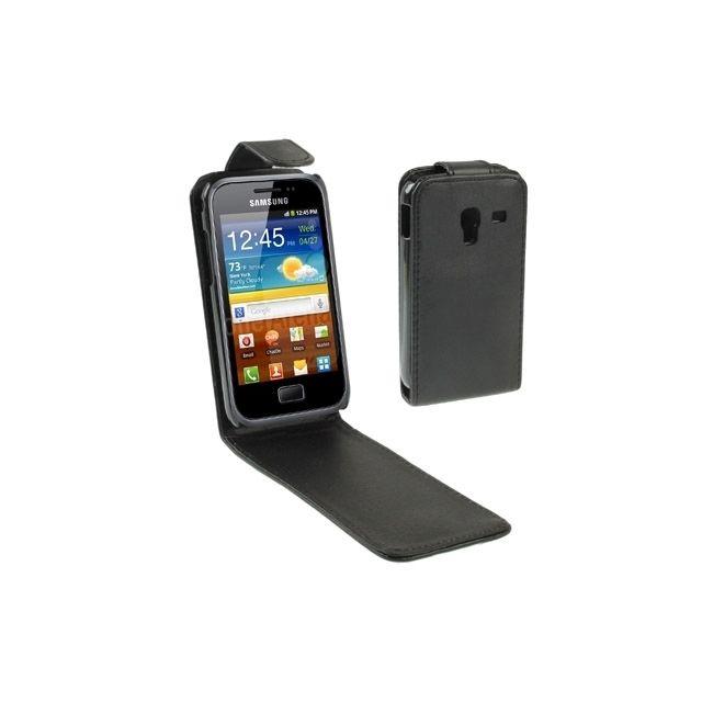 Housse Étui noir pour Samsung Galaxy Ace / Plus / S7500 en cuir à rabat vertical