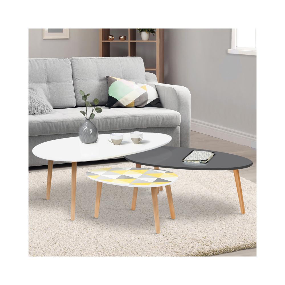 Idmarket Lot de 3 tables basses gigognes laquées blanc / gris / motifs graphiques