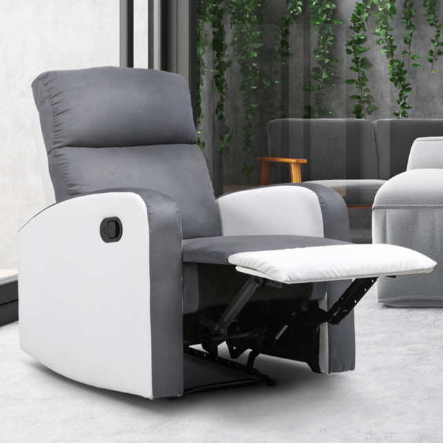 Idmarket - Fauteuil relaxation inclinable gris anthracite et blanc - Fauteuil de relaxation
