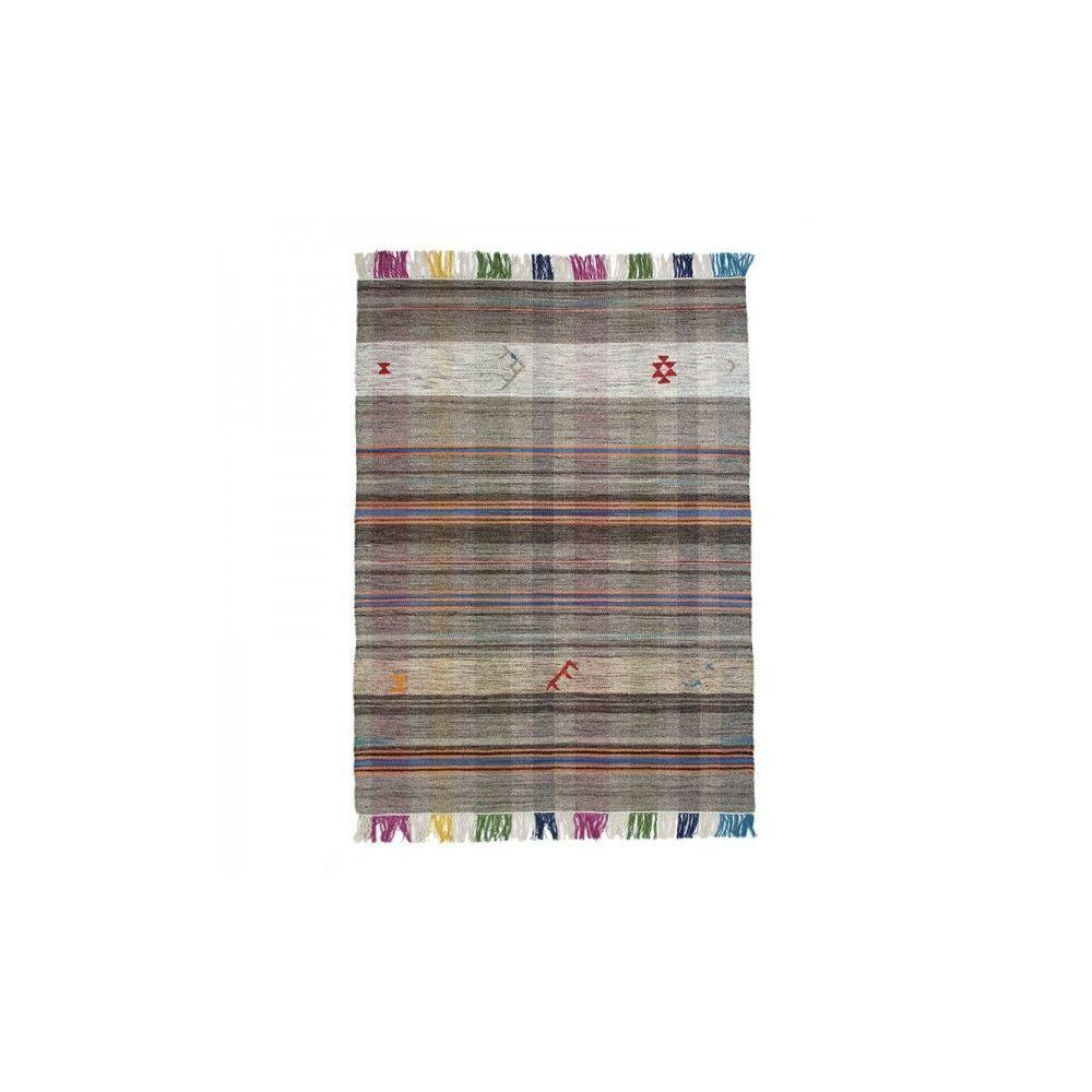 Mon Beau Tapis KILIM - Tapis en laine à franges esprit tribal gris 140x200