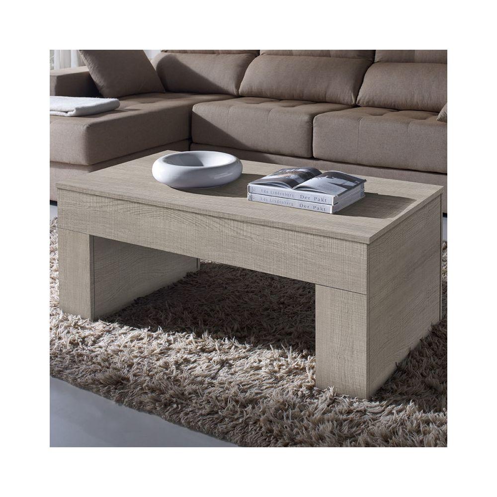 Nouvomeuble Table salon relevable couleur bois clair ISERE