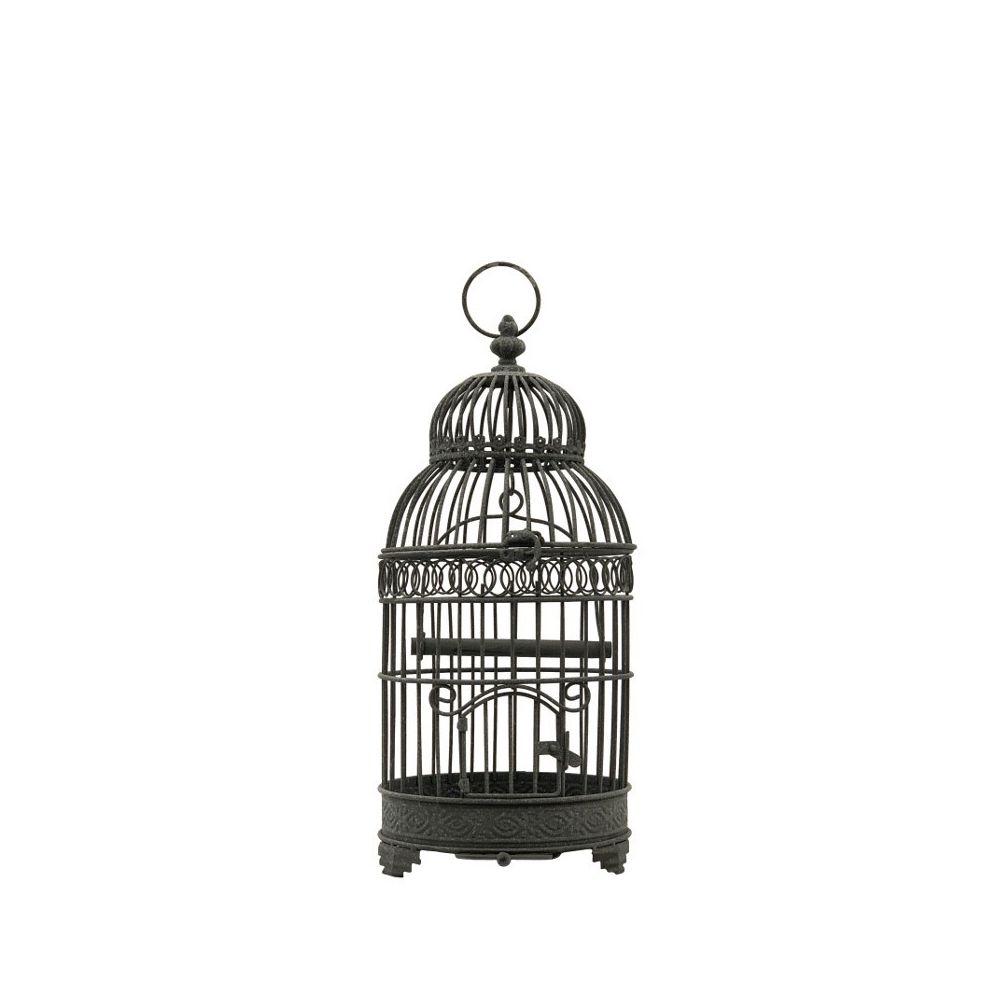 Chemin De Campagne Cage à Oiseaux en Fer Rond Gris 48 cm x ø21 cm