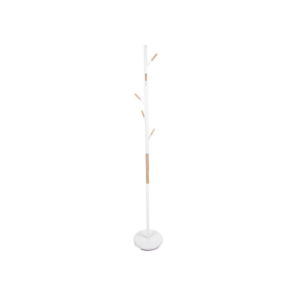 Present Time Porte manteau forme arbre en acier bicolore 5 accroches H.177cm Fushion - Blanc/Naturel