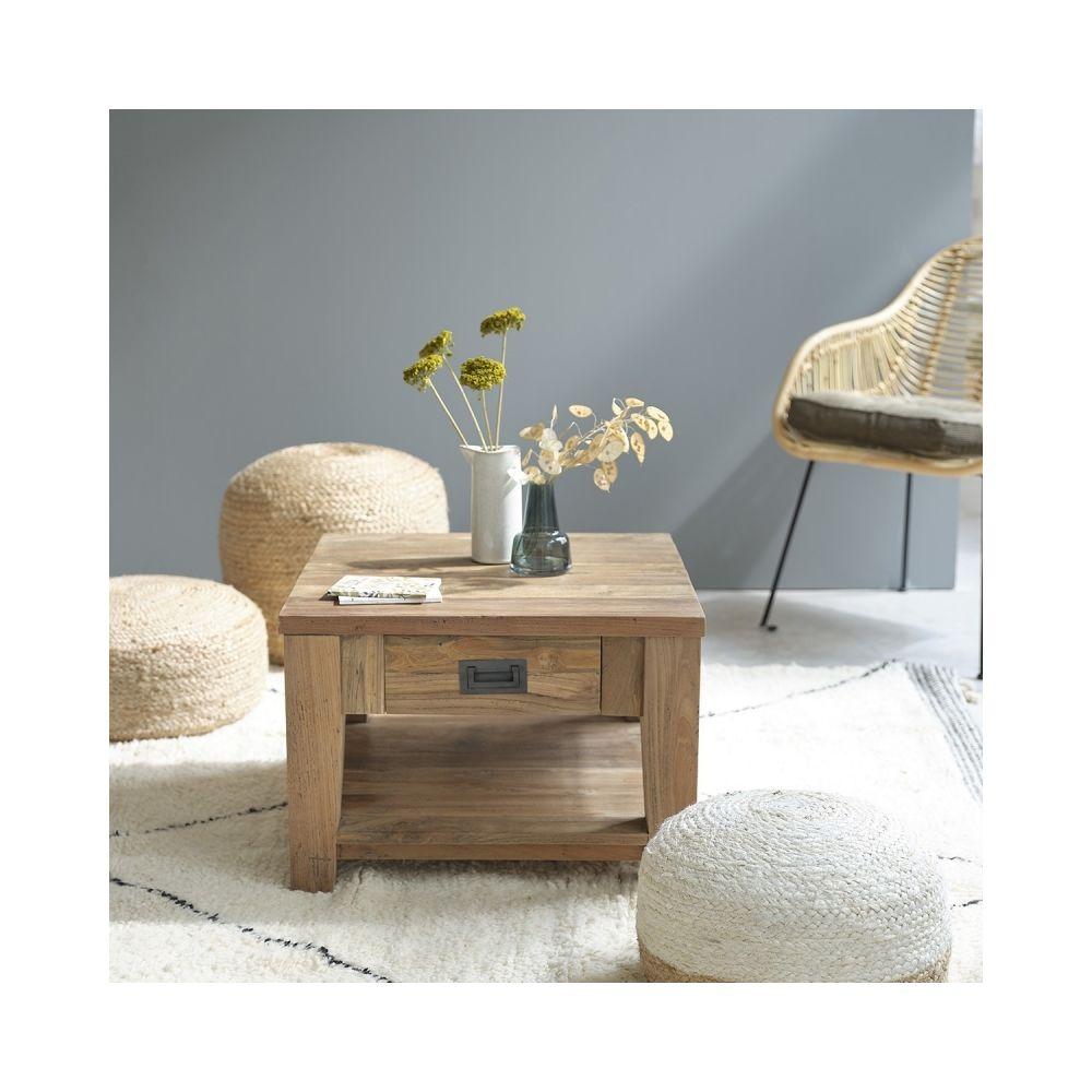 Bois Dessus Bois Dessous Table basse carrée en bois de teck recyclé 60
