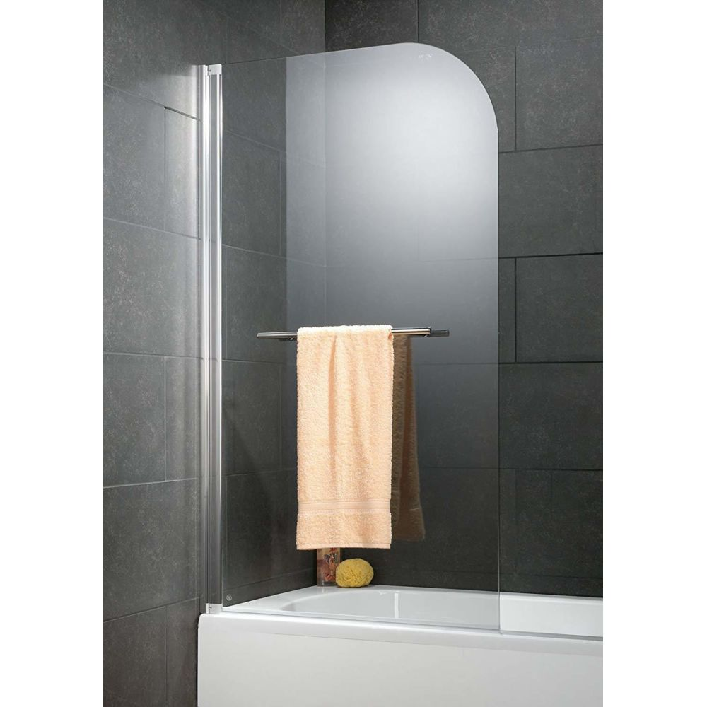 Schulte Schulte - Pare-baignoire 1 volet, 80 x 140 cm, verre transparent, traitement anti-calcaire, profilé chromé, Capri deluxe
