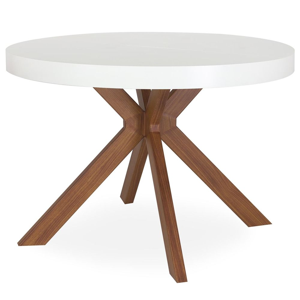 MENZZO Table ronde extensible Myriade Blanc