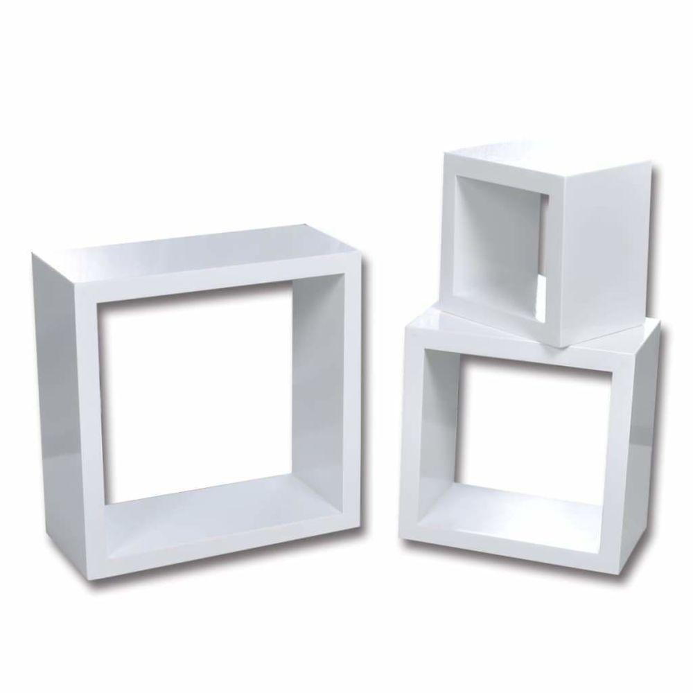 Helloshop26 Étagère armoire meuble design murales sous forme de cube 6 pcs blanc 2702238/2