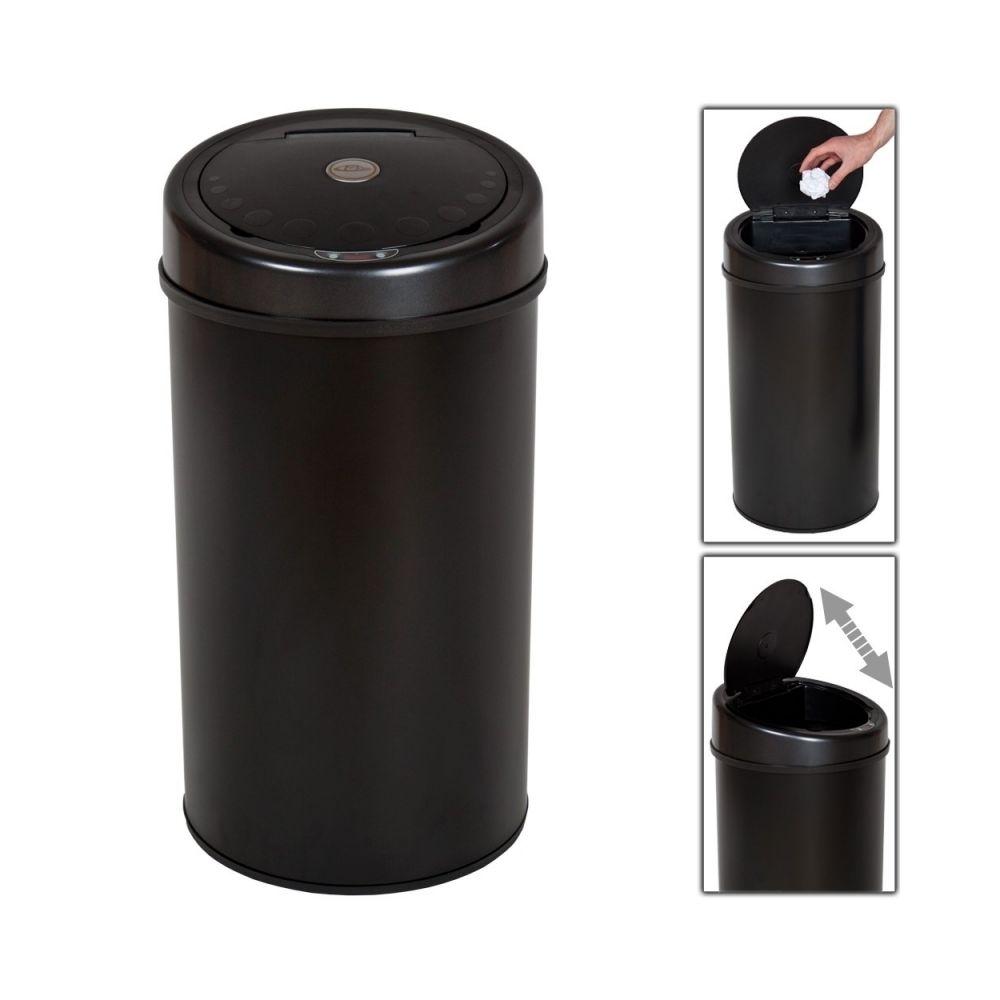 Helloshop26 Poubelle automatique 50 litres noir pratique cuisine salle de bain 2008091