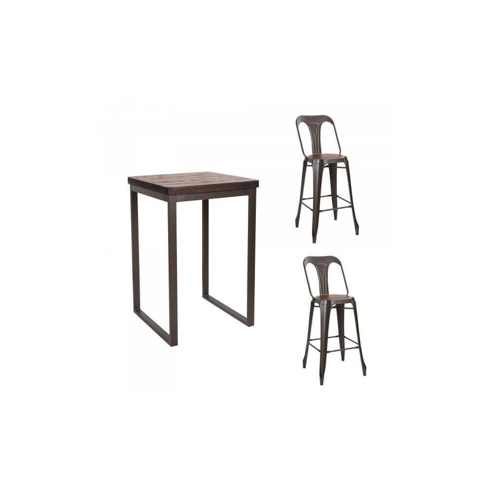 Mathi Design NEVADA - Ensemble haut acier/bois massif foncé