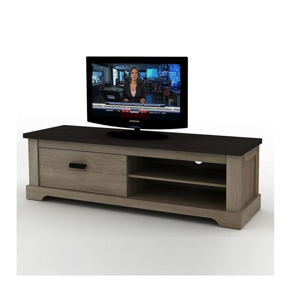Sofamobili Meuble television couleur bois et anthracite WALLAS