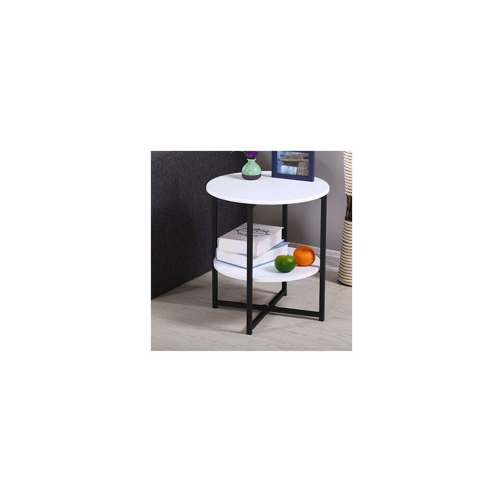 Wewoo Mini table de thé ronde de salon moderne simple blanc mat