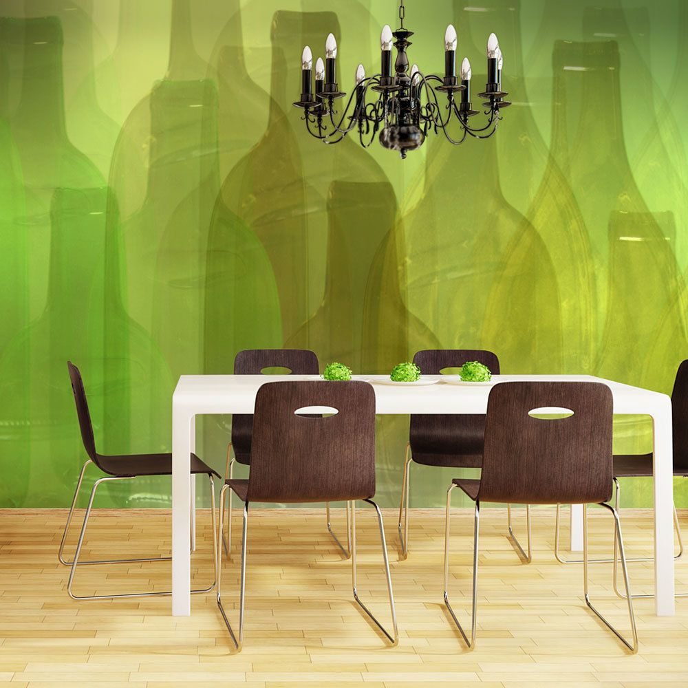 Bimago Papier peint - Bouteilles vertes - Décoration, image, art   Motifs de cuisine  
