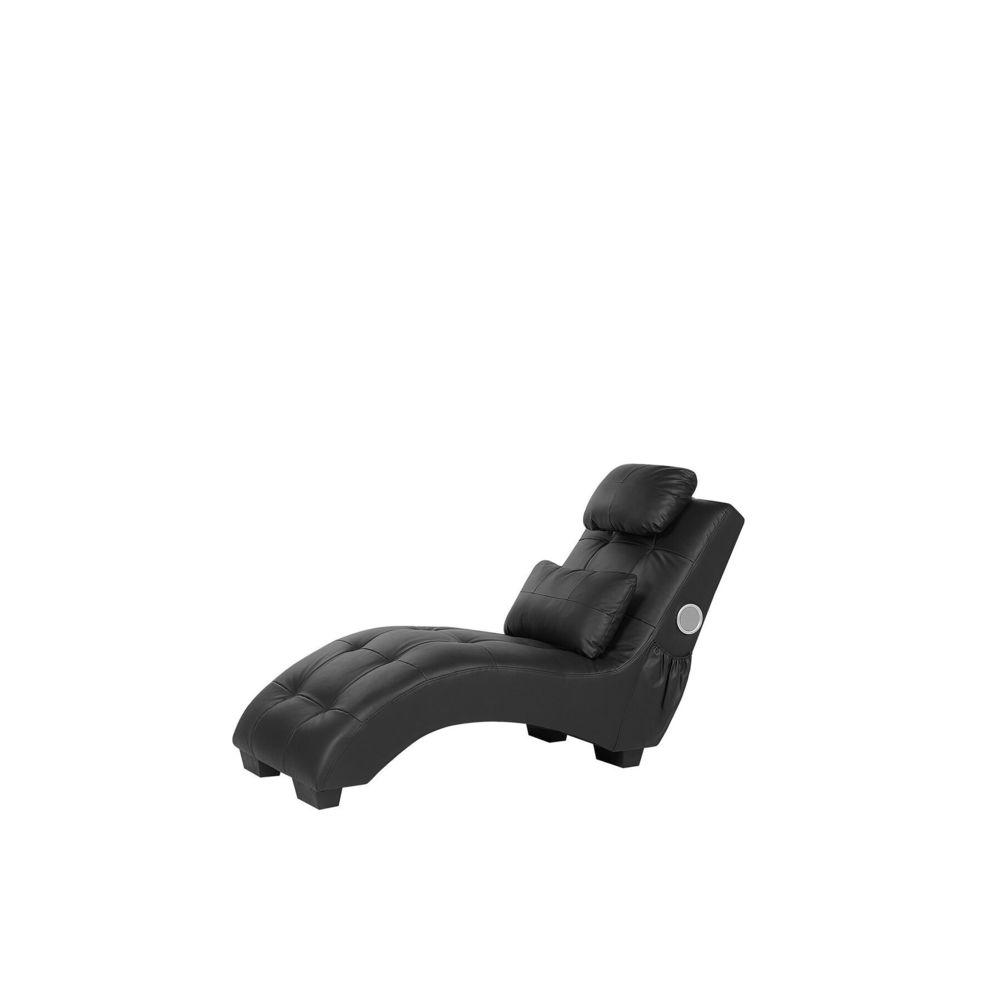 Beliani Beliani Chaise longue en simili-cuir noir avec haut parleur Bluetooth SIMORRE -