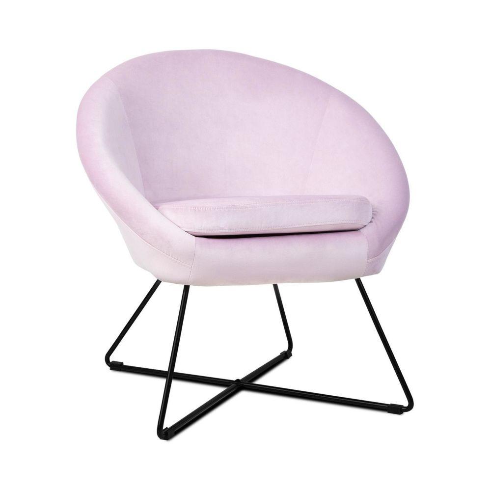 Besoa Besoa Emily Chaise rembourrée de mousse - Revêtement polyester - Pieds acier - Design rétro rose