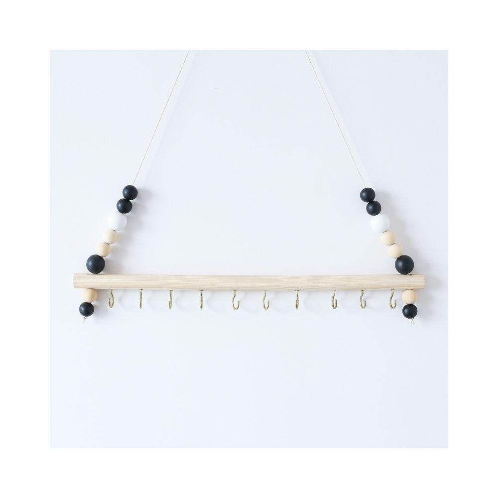 Wewoo Bois couleur macarons perles clip de stockage de bijoux crochet en fer noir