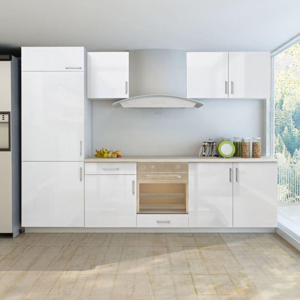 Vidaxl vidaXL Armoire de cuisine et frigo encastré 7 pcs Blanc brillant 270cm