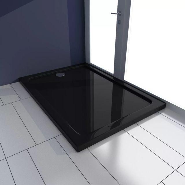 Receveur de douche 70 x 100 cm extra plat QUORE en r/ésine surface ardois/ée noir