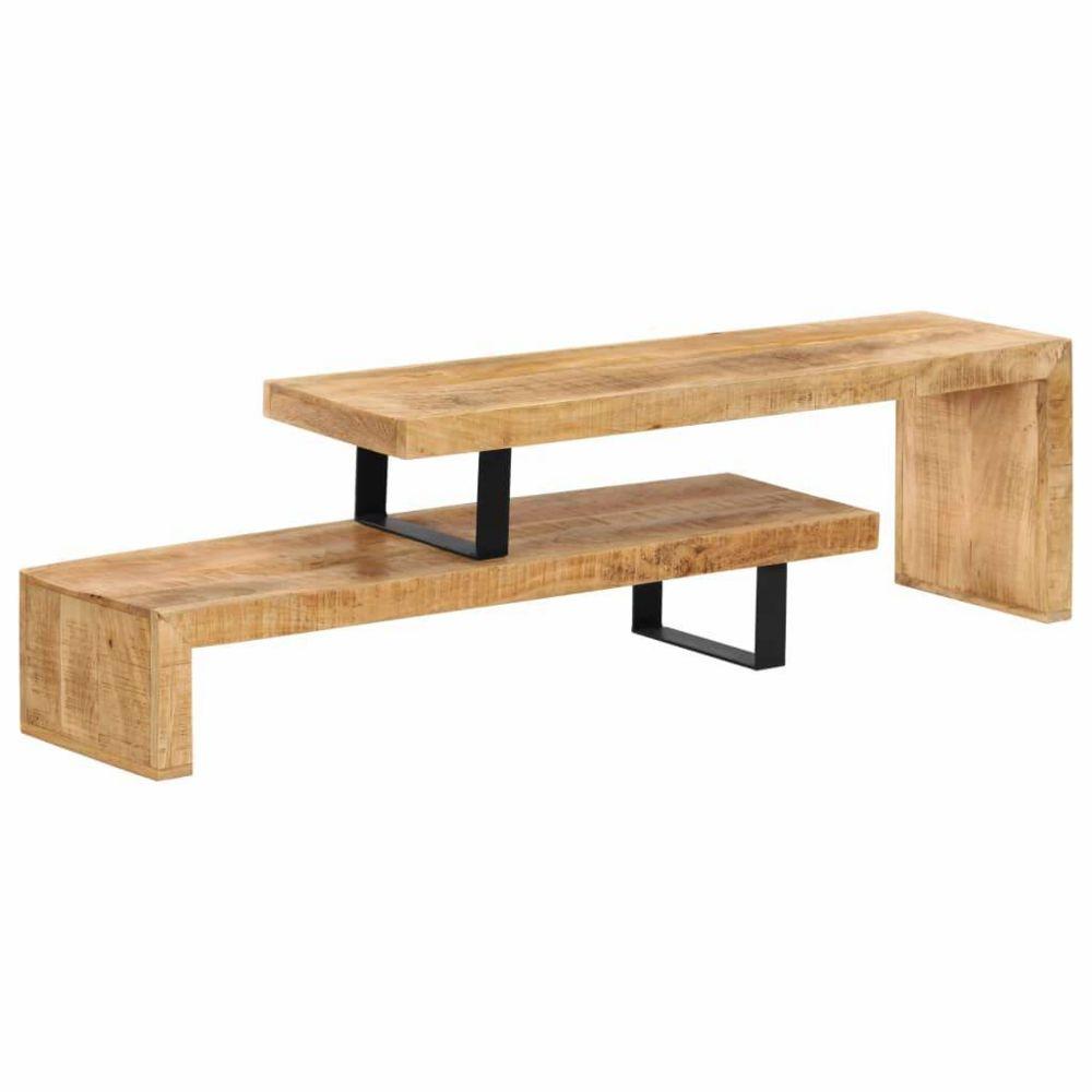 Helloshop26 Meuble télé buffet tv télévision design pratique bois de manguier massif 2502132