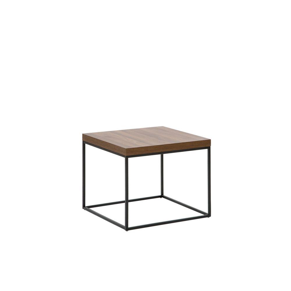 Beliani Beliani Table appoint bois foncé et noire DELANO - marron foncé