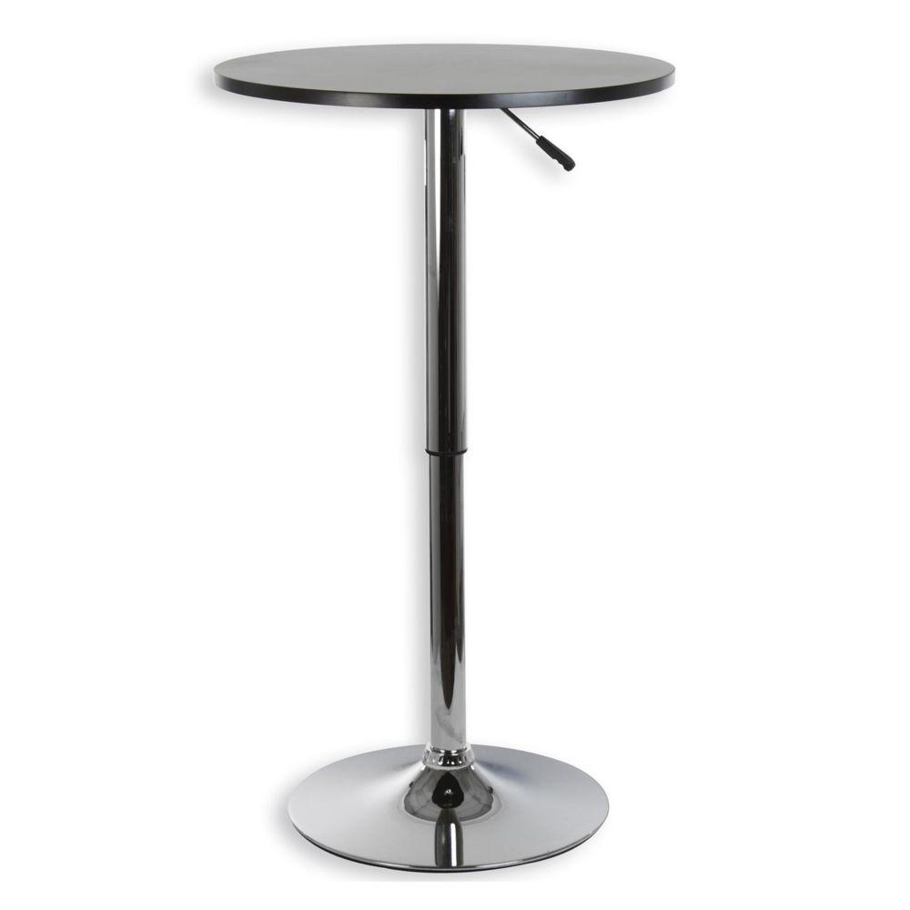 Idimex Table haute de bar VISTA table bistrot ronde mange-debout hauteur réglable avec plateau en MDF noir et socle en métal ch