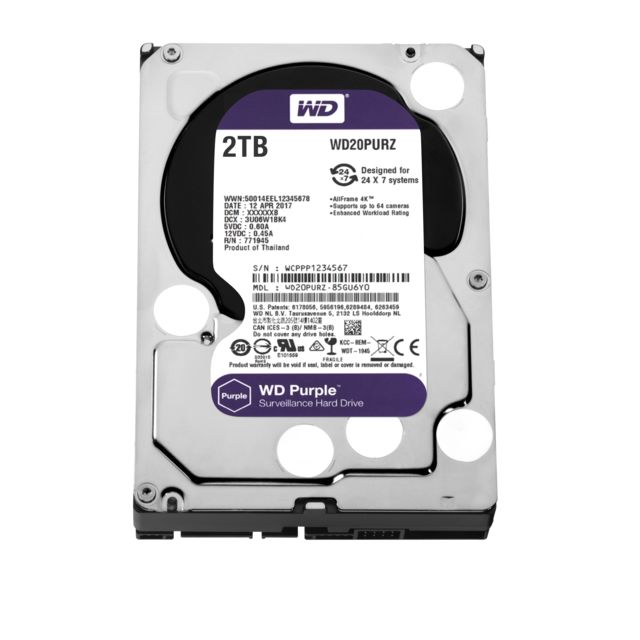 Disque Dur interne Western Digital WD PURPLE 2 To - 3.5'' SATA III 6 Go/s - Cache 64 Mo - Violet