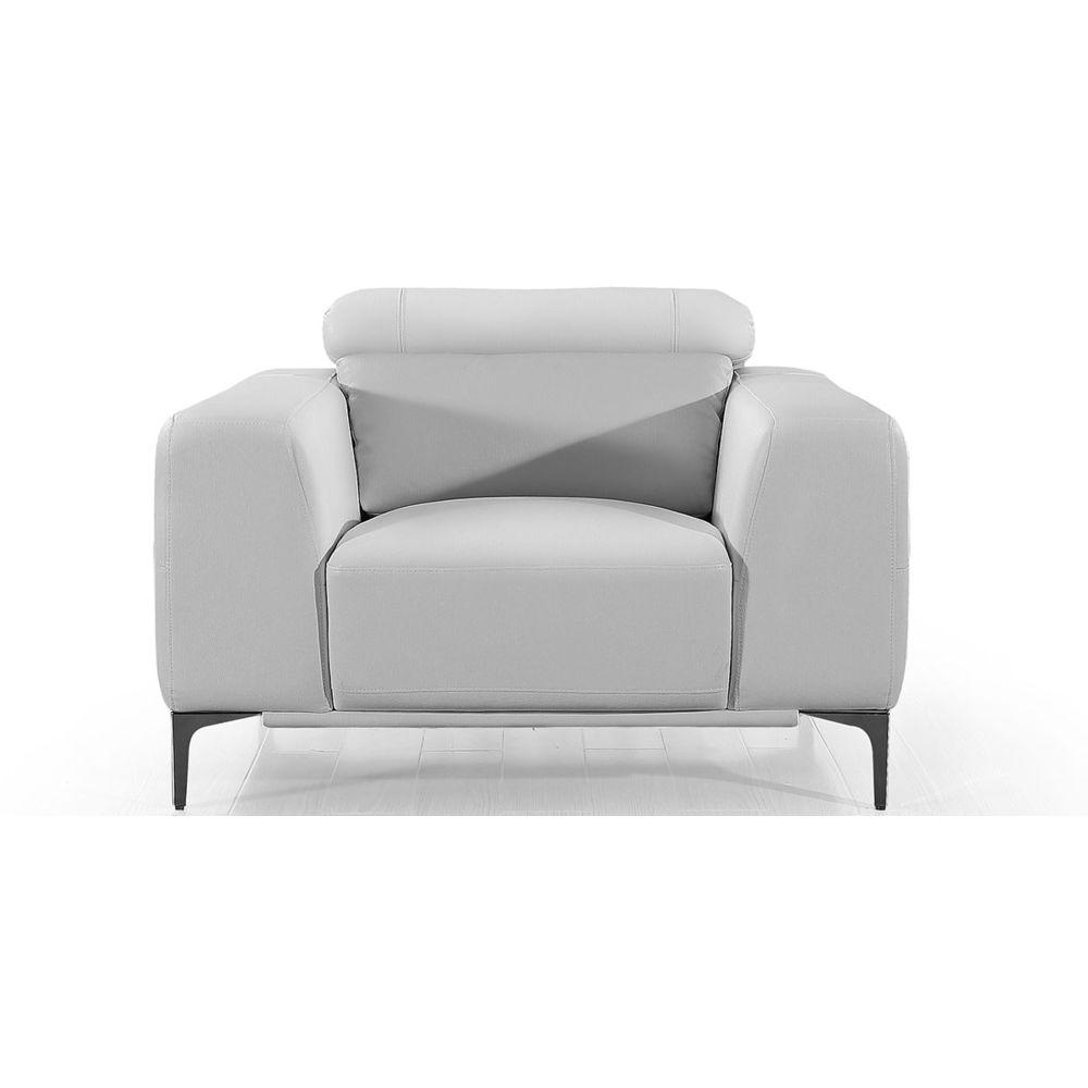La Maison Du Canapé Fauteuil cuir Design NORA - {habillage_canape_cuir} - Blanc