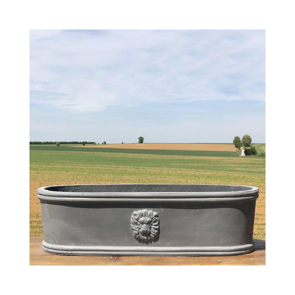 L'Originale Deco Longue Jardinière Pot Vasque Médicis Fenêtre Jardiniere Balcon Tête Lion Gris Fonte Gris Plomb 48 cm x 17 cm