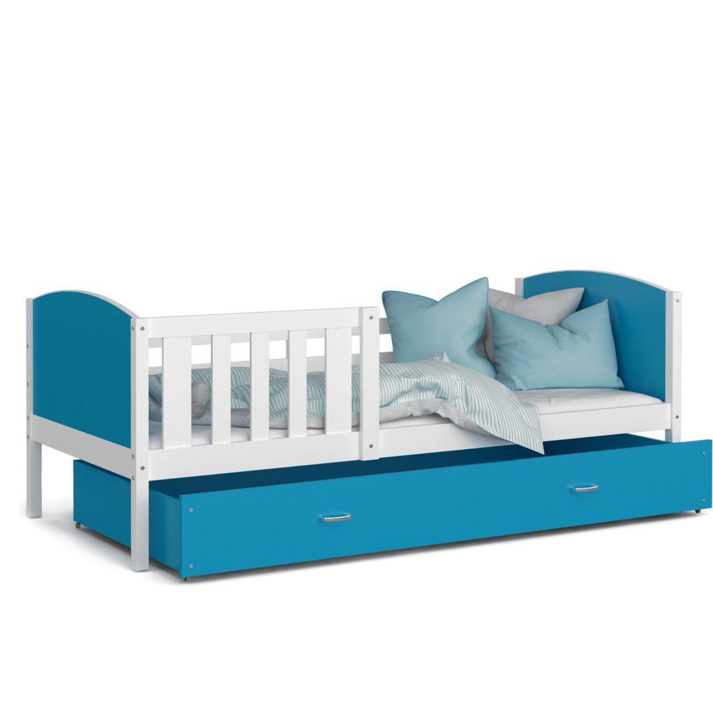 Kids Literie Lit enfant Tomy 90x190 blanc bleu livré avec tiroir, sommier et matelas en mousse de 7cm offert