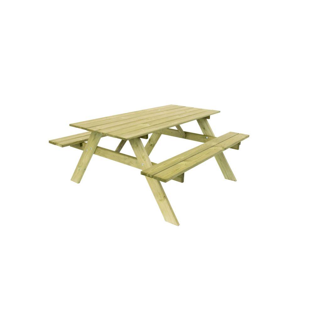 Gardiun Table Pique-nique Bois Naturel Traité Gardiun Essential 165x154x75 cm 20/25 mm 6-8 Personnes