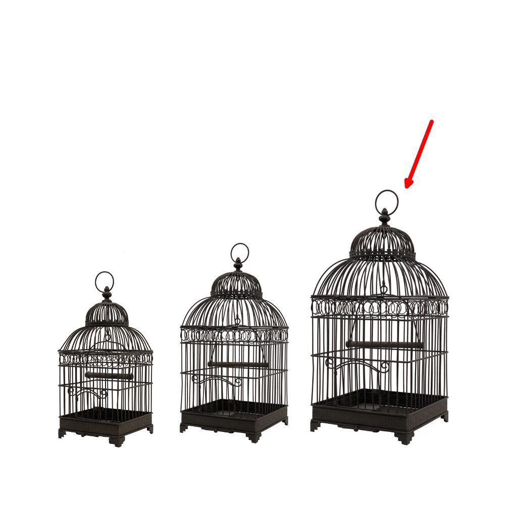 L'Originale Deco Grande Cage à Oiseaux en Fer Carré Marron 57 cm x 25.50 cm x 25.50 cm